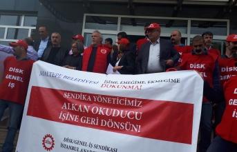 """DİSK, Maltepe Belediyesi önünde 'ADALET"""" istedi"""
