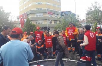 Maltepe'de yol bakım işçileri iş bıraktı