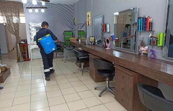 Urla'da açılacak olan işletmeler dezenfekte edildi